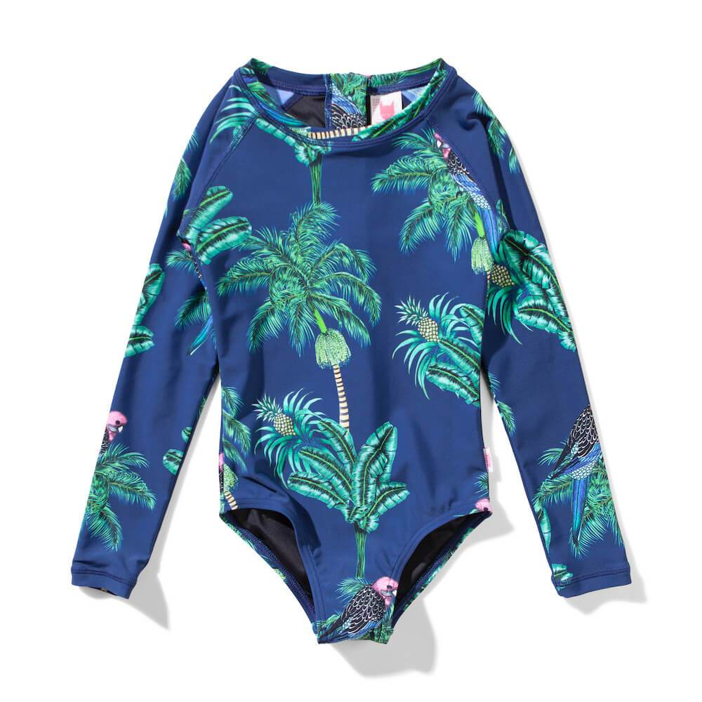 Missie Munster Malibu Long Sleeve Onepiece Navy Girls Swimwear - Tiny People Cool Kids Clothes