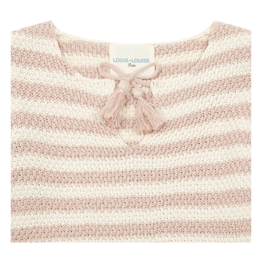 Pull Mignonne Knitted Cotton Stripes Pink & Off White