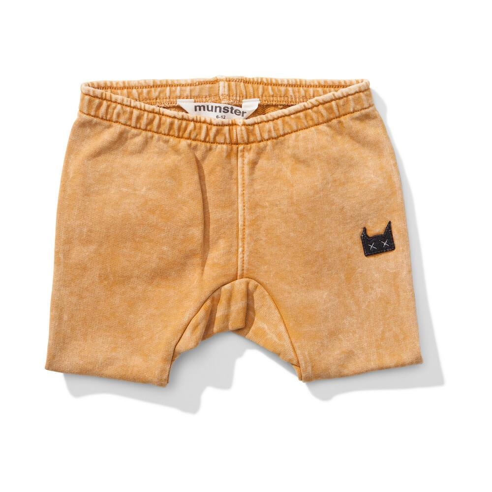 Mini Munster Next Time Washed Mustard Track Shorts Baby Pants - Tiny People Cool Kids Clothes