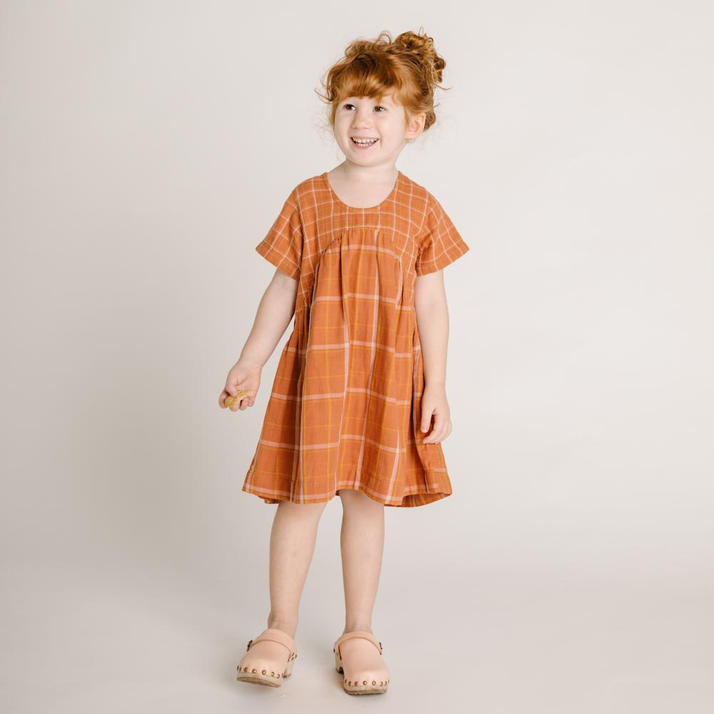 Olli Ella Clover Toddlers Dress Rust Check Dresses - Tiny People Cool Kids Clothes
