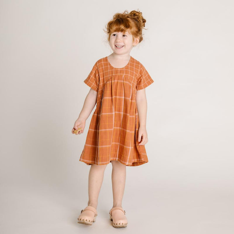 Clover Toddlers Dress Rust Check