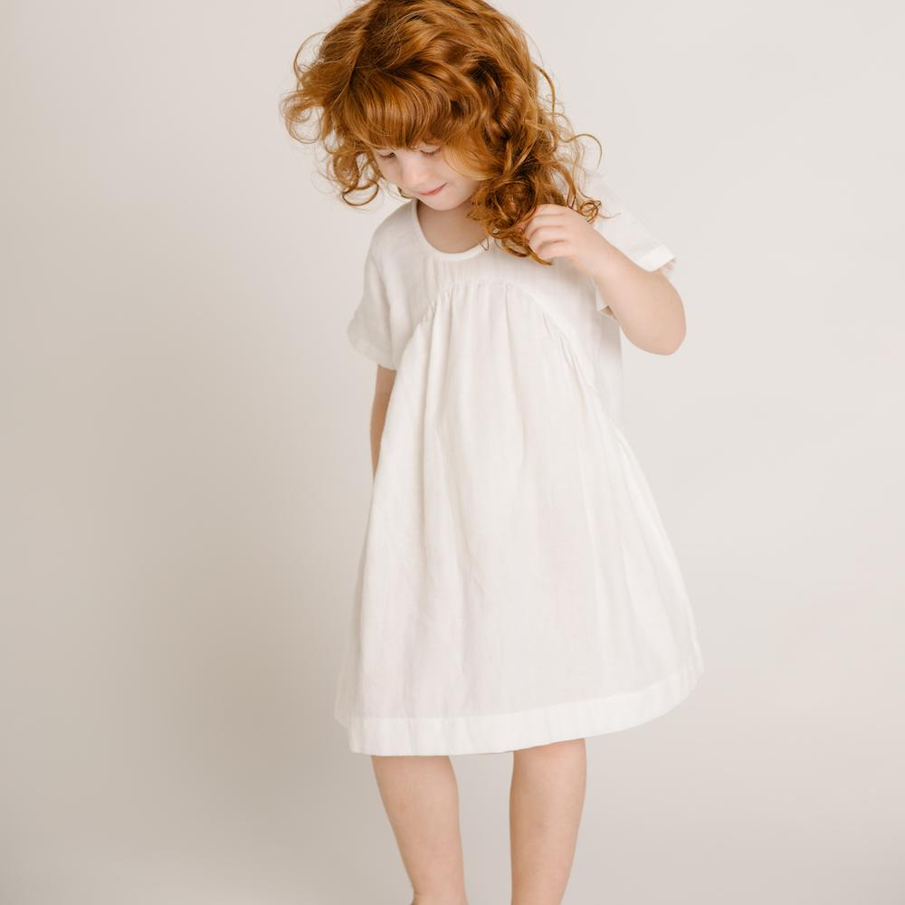 Olli Ella Clover Toddlers Dress Ivory Dresses - Tiny People Cool Kids Clothes
