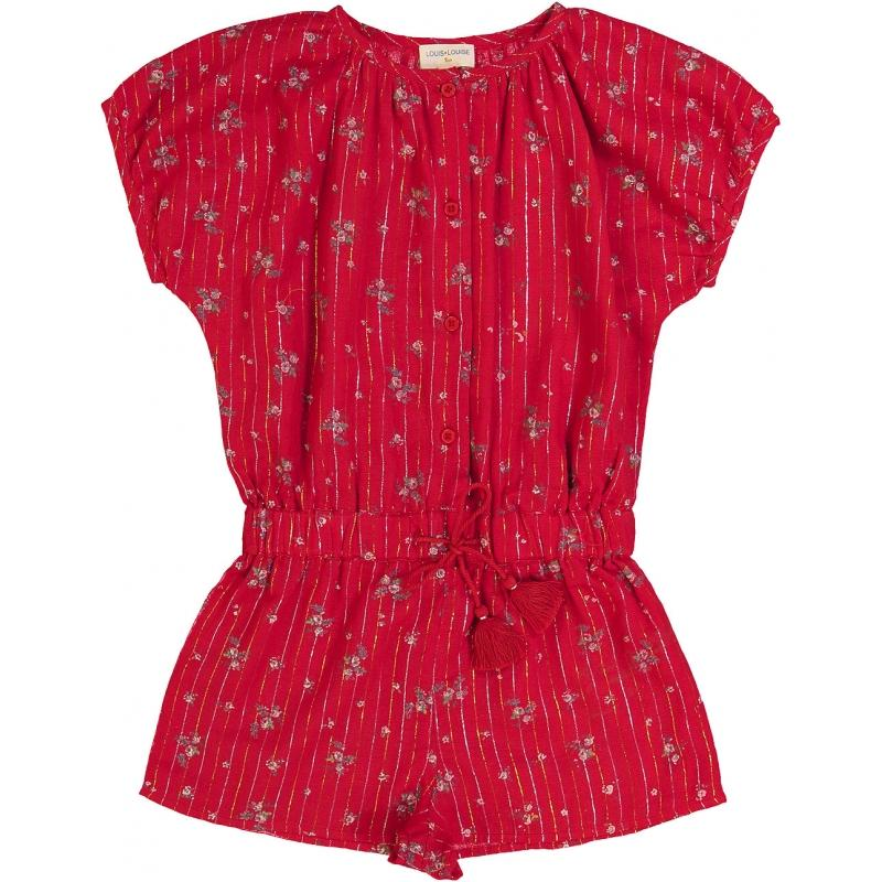 Overall Emilie Romantic Flowers Stripes Lurex Red