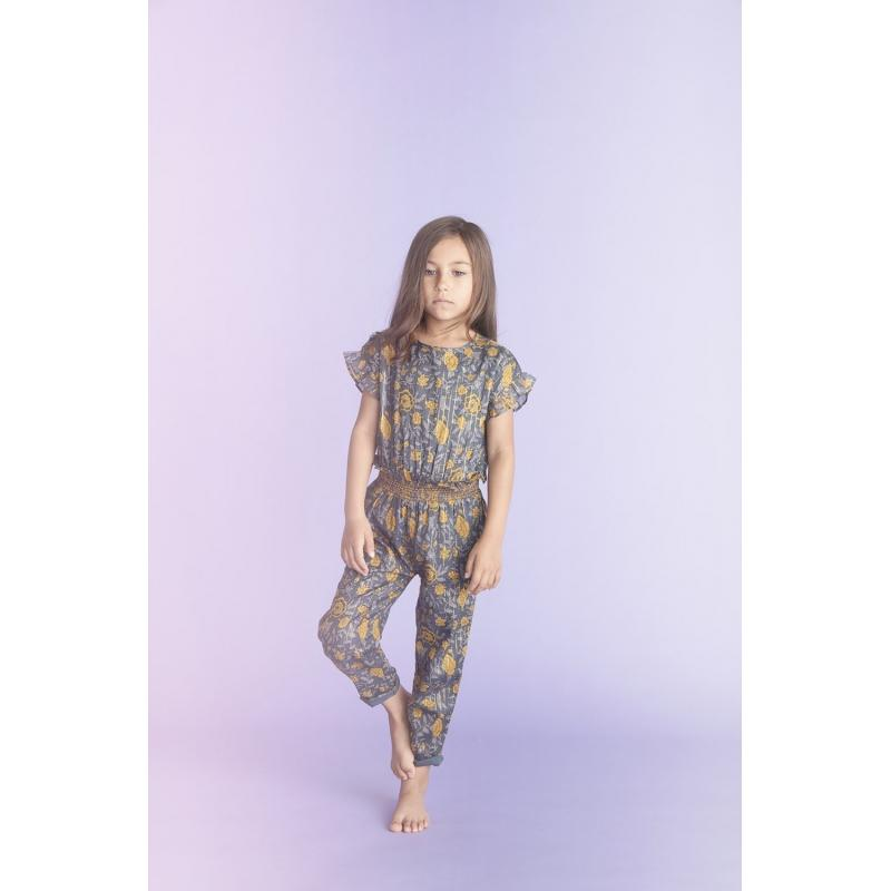 Overall Lilas Big Indian Flower Stripe Lurex Blue