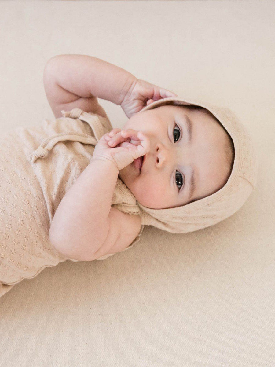 Pointelle Baby Bonnet Rose