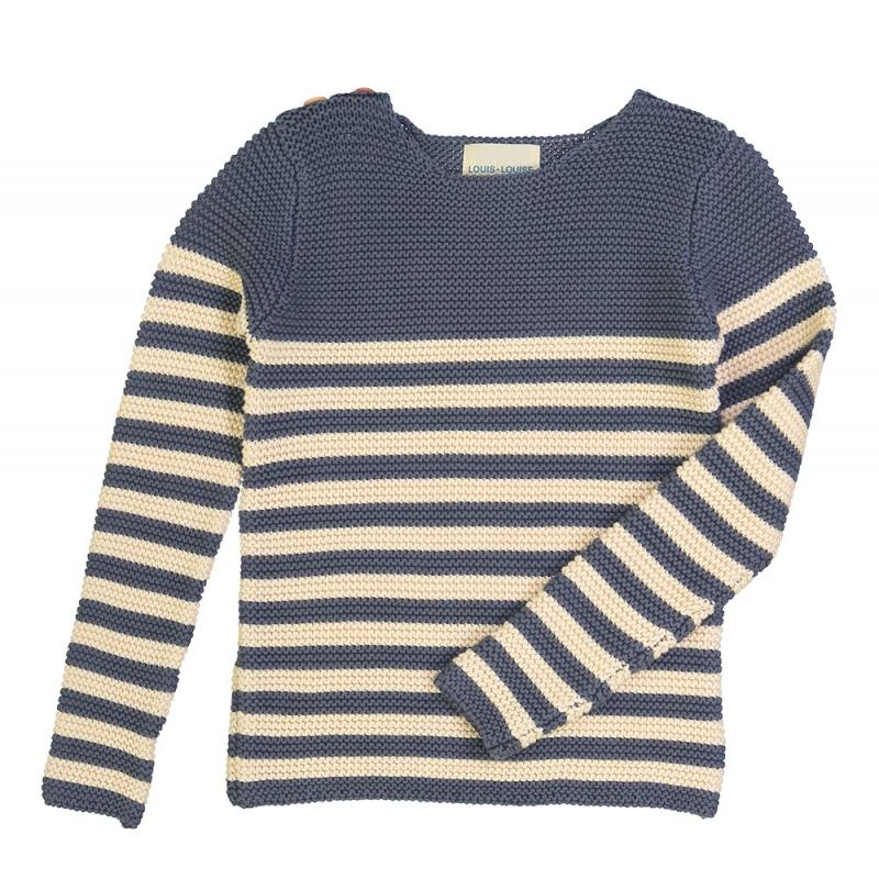 Louis Louise Pull Axel Knitted Cotton Stripes Dark Blue & Off White Crews & Hoodies - Tiny People Cool Kids Clothes