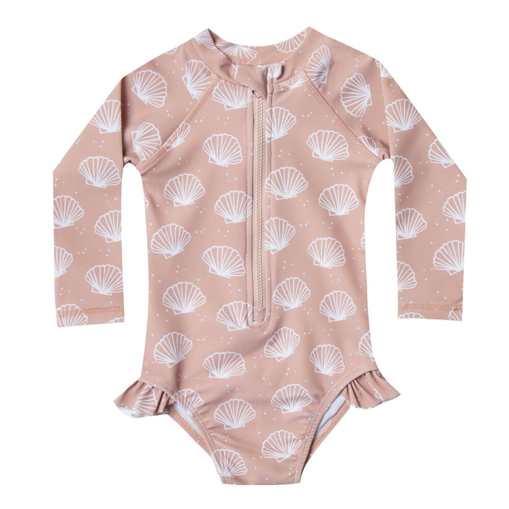 Rylee and Cru Seashell Rashguard Onepiece | Tiny People