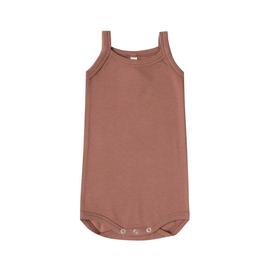 Ribbed Tank Onesie Clay