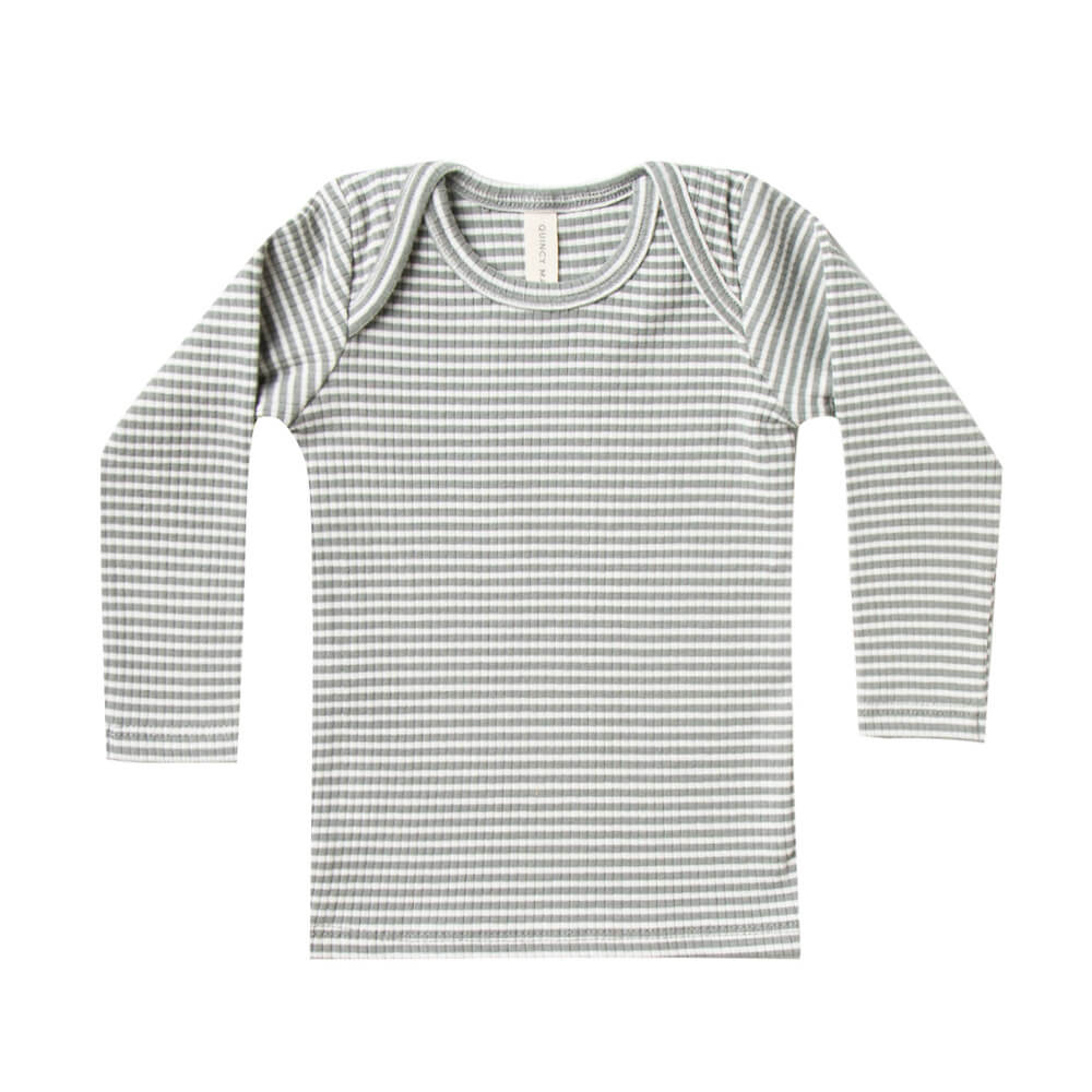 Quincy Mae Ribbed Longsleeve Lap Tee Eucalyptus Stripe | Tiny People