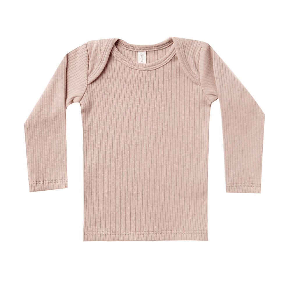 Quincy Mae Ribbed Longsleeve Lap Tee Petal | Tiny People
