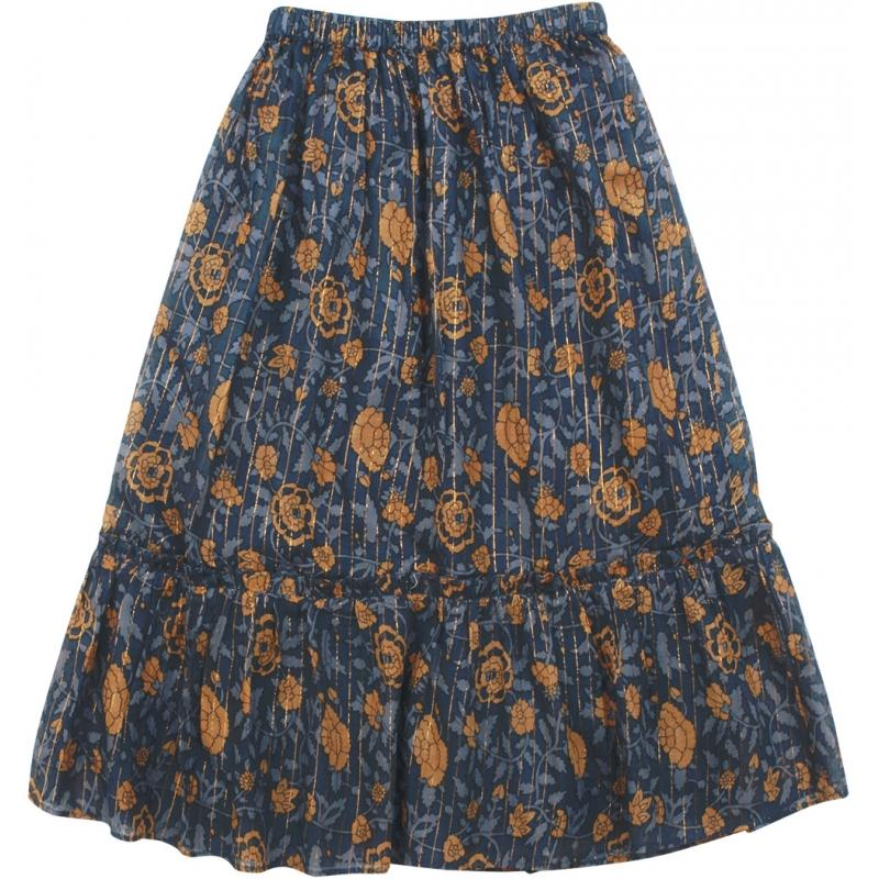 Skirt Rachel Big Indian Flower Stripe Lurex Blue