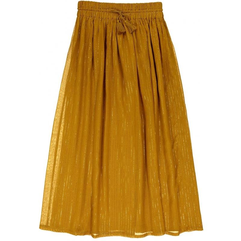 Women's Skirt Rosie Gold Lurex Stripes Cognac