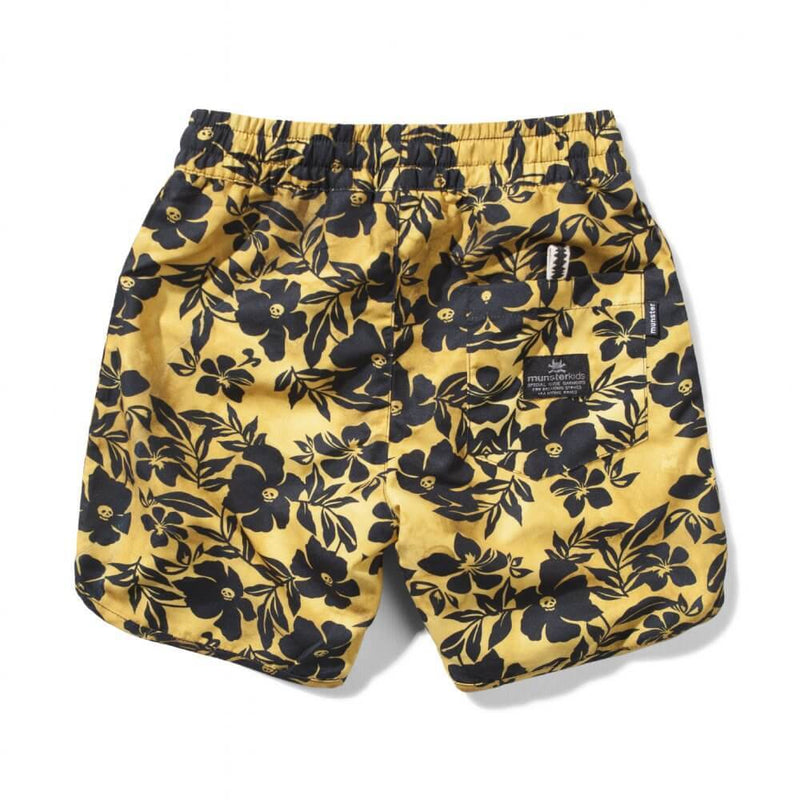 Munster Skull Biscus Mustard Board Shorts | Tiny People