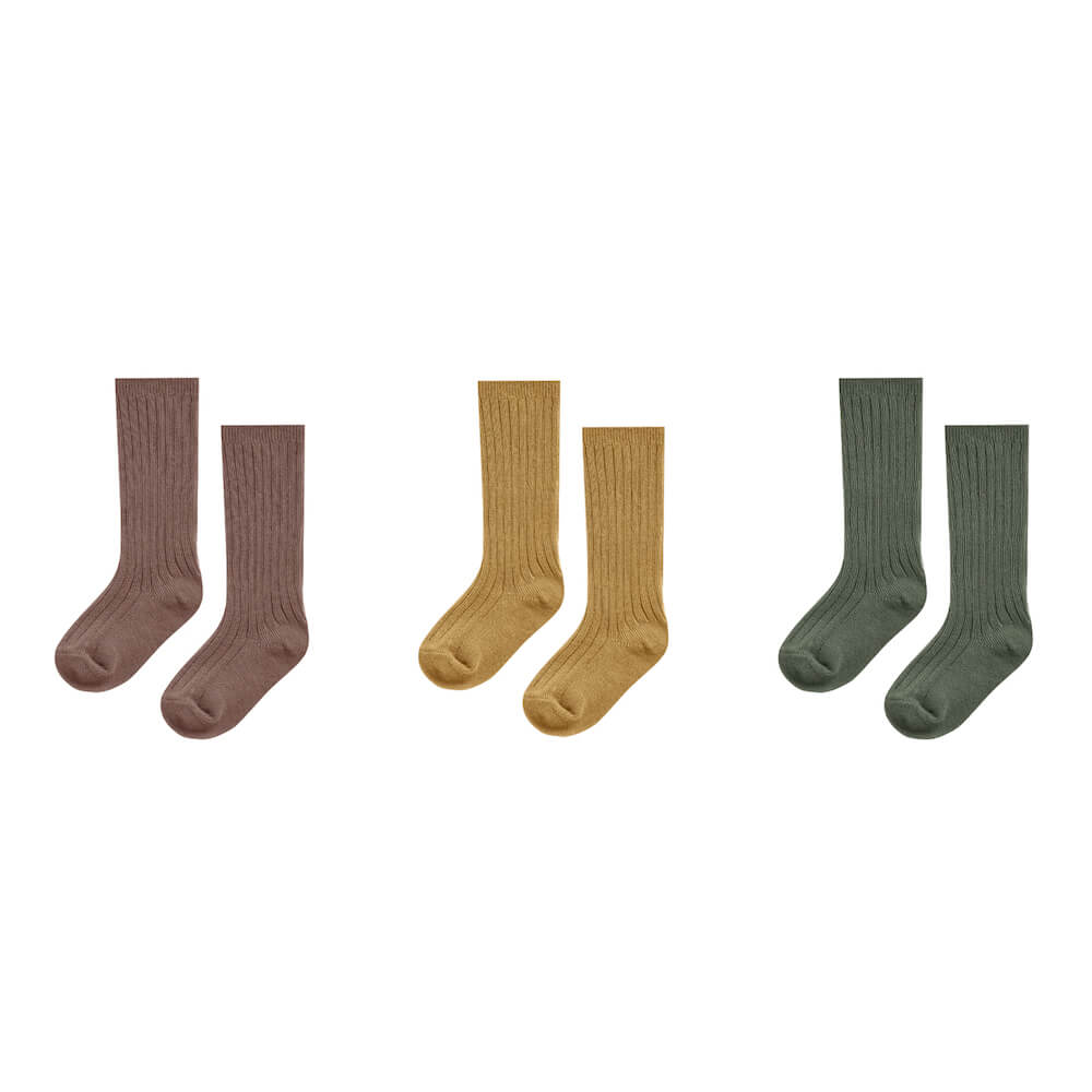 Rylee & Cru Knee Socks Set Of 3 Wine, Goldenrod, Forest | Tiny People