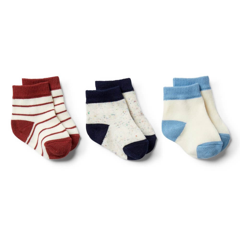 Wilson & Frenchy Faded Denim, Chilli, Twilight Blue-3 Pack Baby Socks | Tiny People