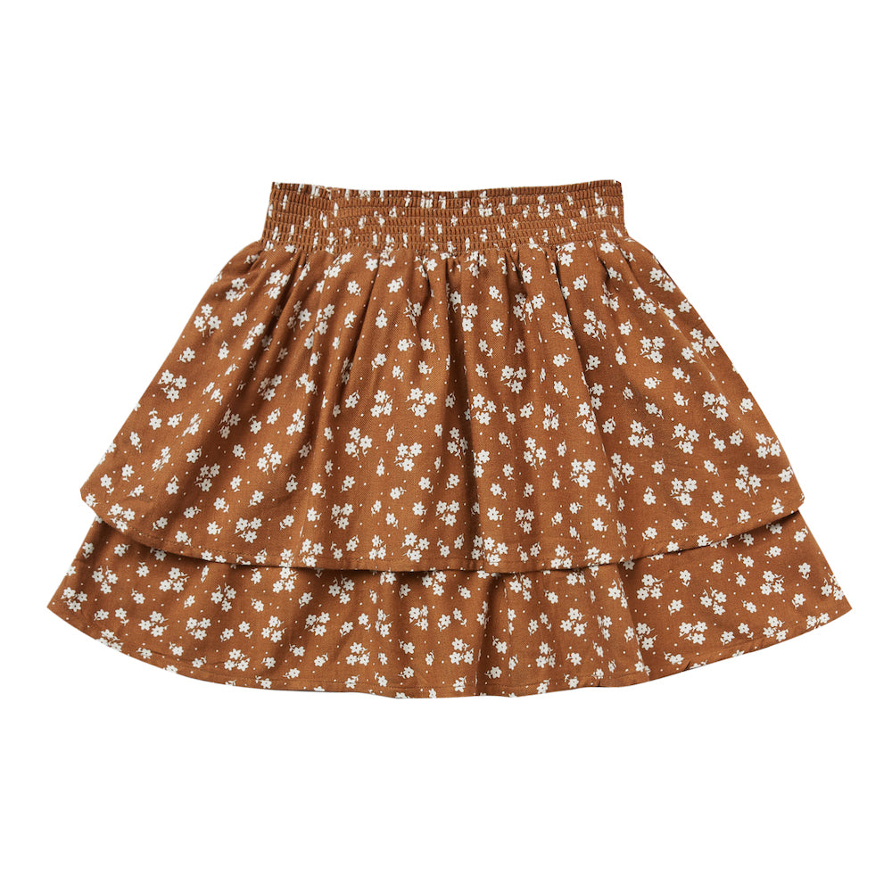 Rylee and Cru Ditsy Tiered Mini Skirt Cinnamon | Tiny People