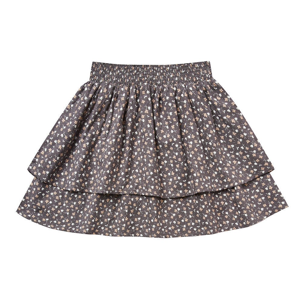 Rylee and Cru Ditsy Tiered Mini Skirt Washed Indigo | Tiny People