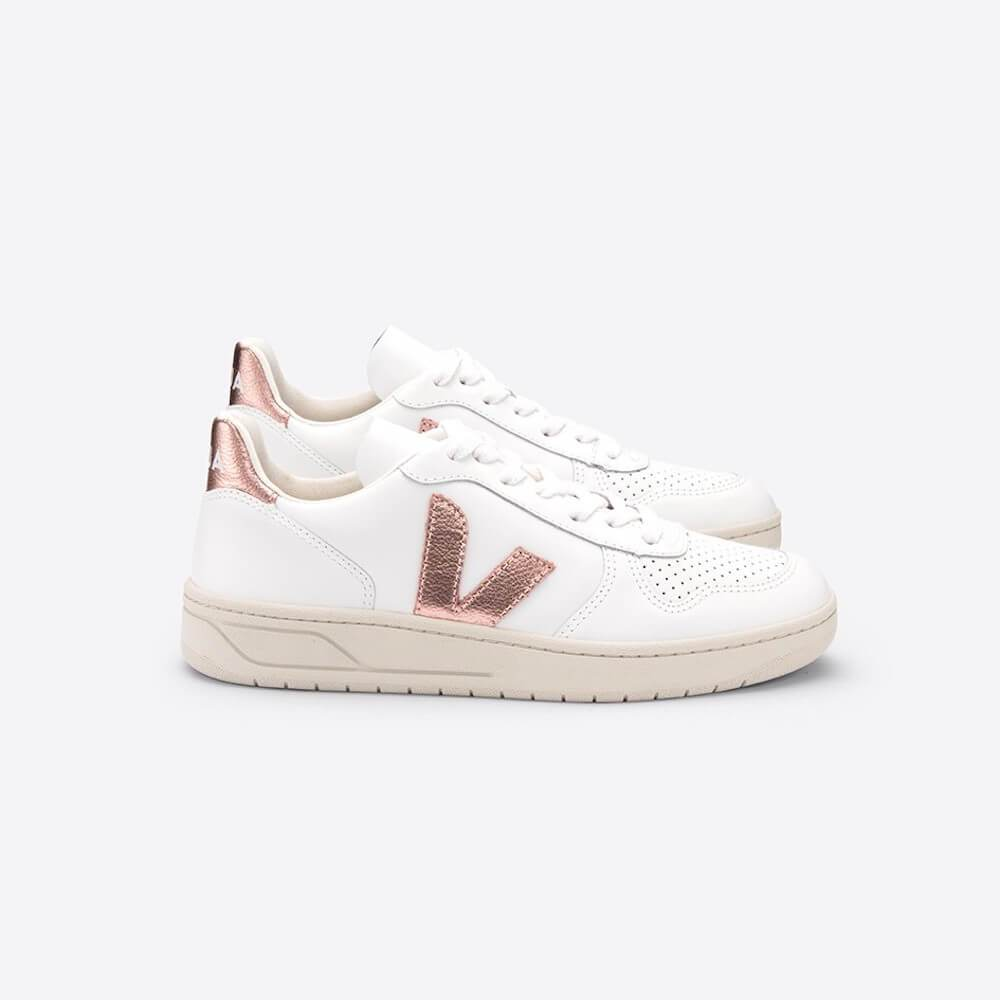 Veja V-10 Leather Extra-White Nacre (Womens) | Tiny People