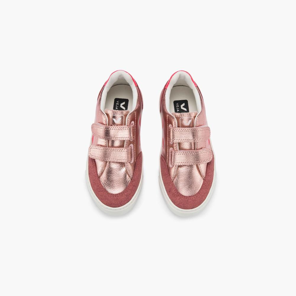 Veja V-12 Leather Nacre Rose Fluo Sneakers | Tiny People