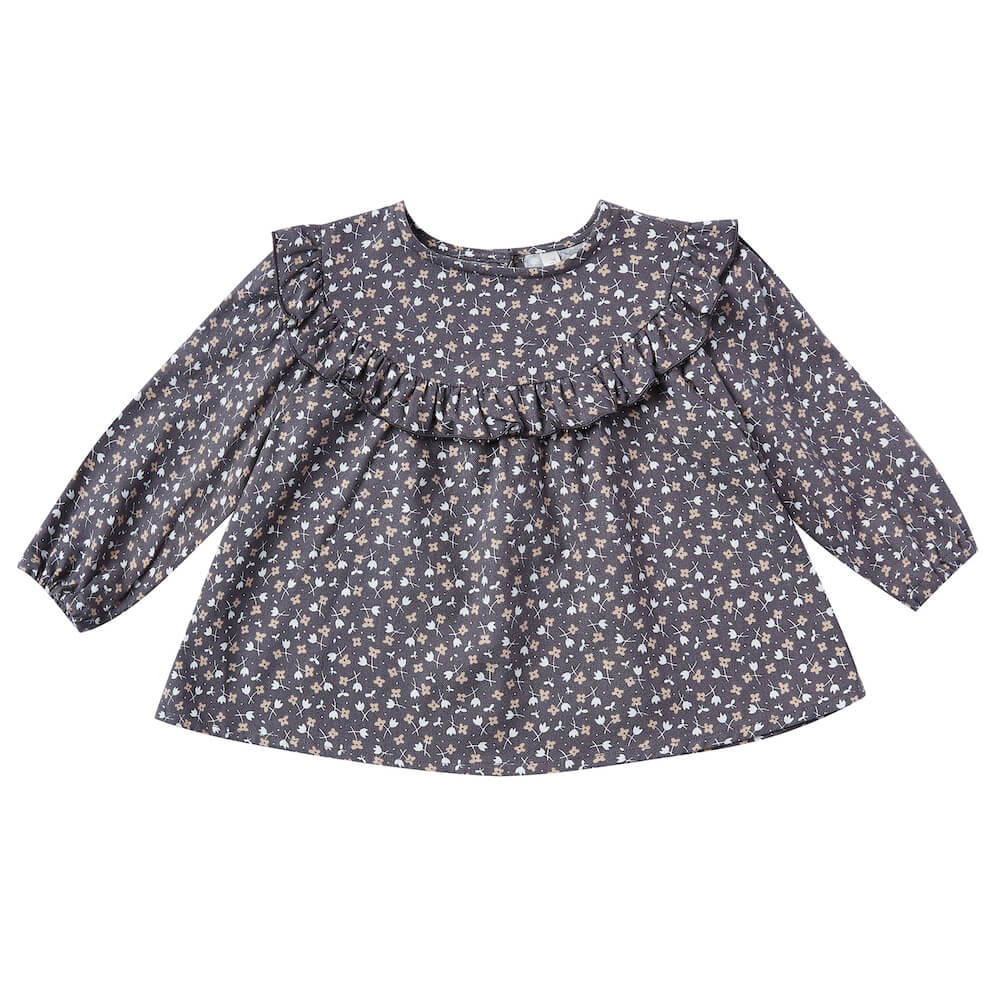 Rylee & Cru Victoria Blouse Indigo Ditsy | Tiny People