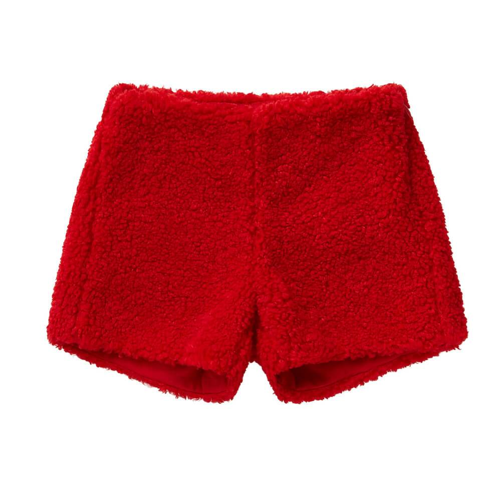 Berry Red Bouclé Shorts