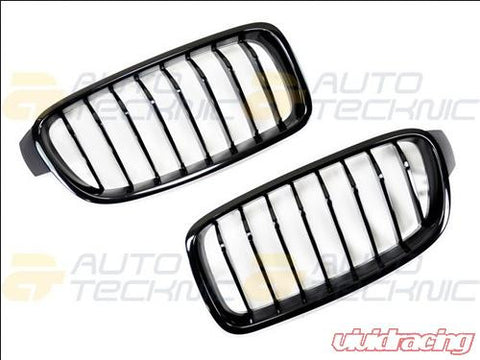 AutoTecknic Replacement ABS Gloss Black Front Kidney Grilles BMW F30 | F31 | 3 Series 12-14