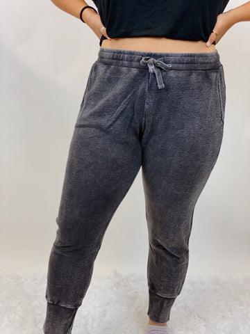 Black Mineral Wash Joggers- Extended Sizes