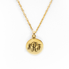 Monogrammable Knot-Stamped Pendant Necklace - Gold