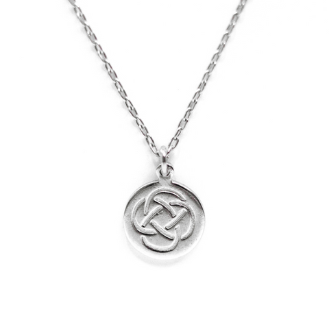 Monogrammable Knot-Stamped Pendant Necklace - Rhodium