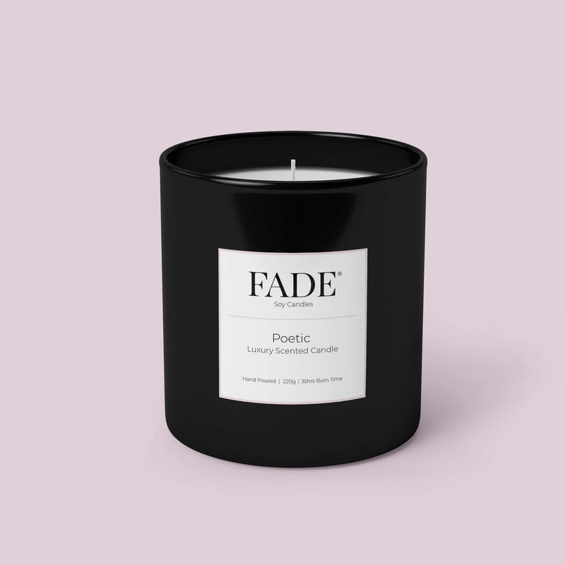 200 gram scented soy candle in a black matt glass
