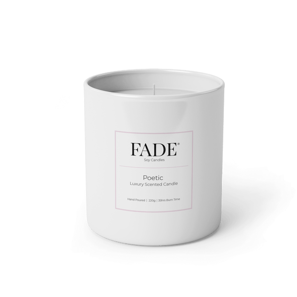 200 gram scented soy candle in a white matt glass