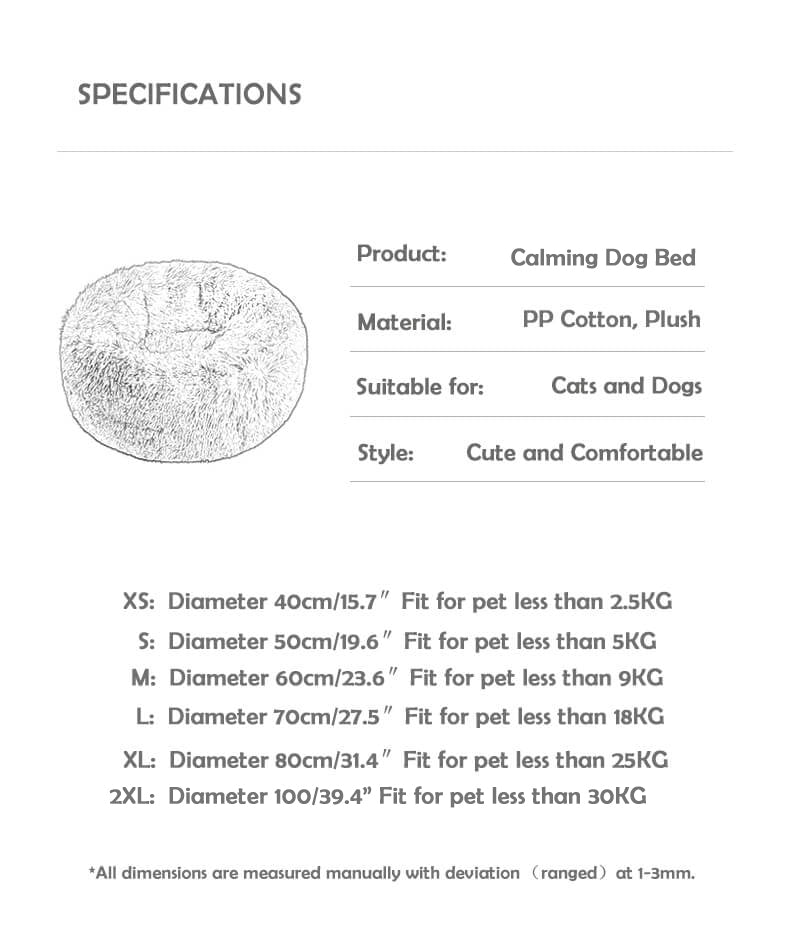 calming dog bed soothing bed size chart