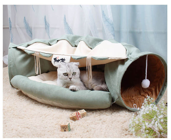 cat tunnel toy bed green
