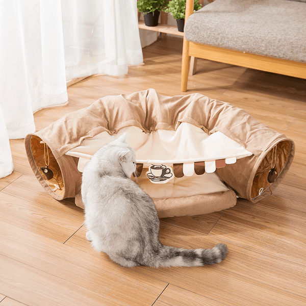 cat tunnel toy bed brown