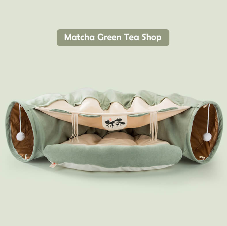 Cat tunnel bed matcha Green tea