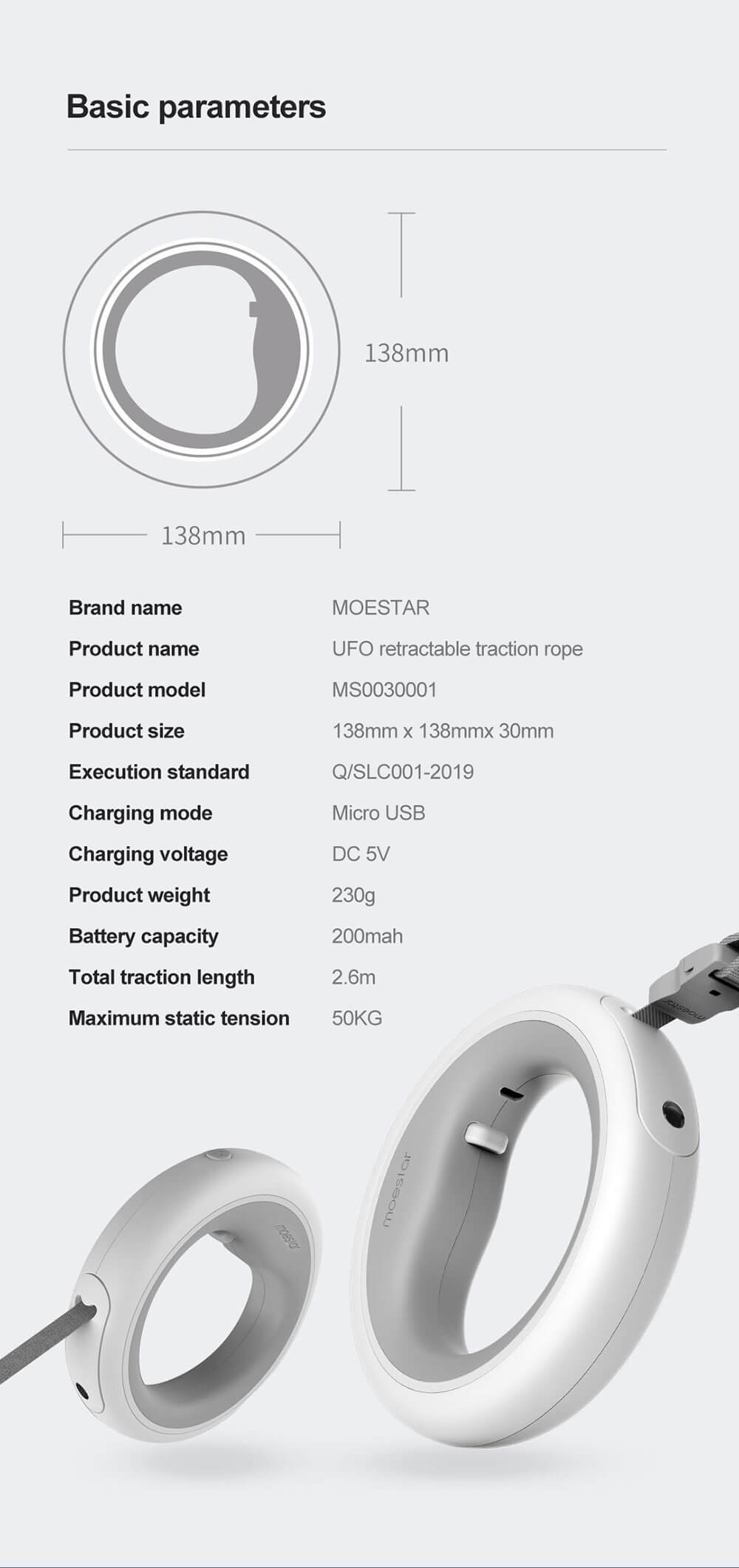 xiaomi moestar smart dog leash specification