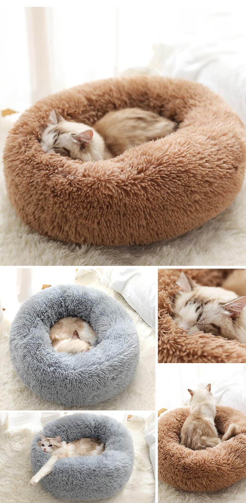 marshmallow cat bed round plush