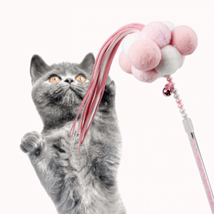 Pom Pom Ball Cat Teaser Toy Cat Wand