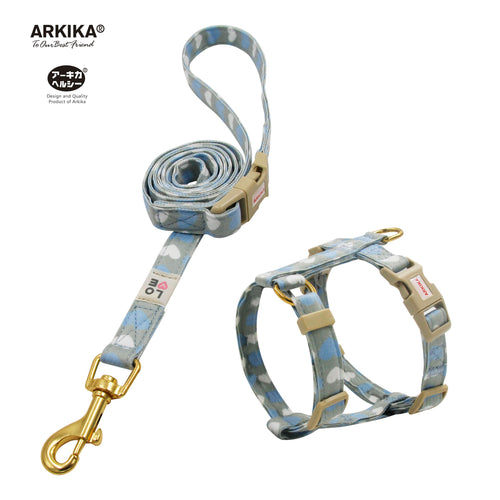 Arkika-Cat-Harness-and-Leash-travel-cat-harness-luxury-cat-harness-soft cat-harness-japan-japanese-blue