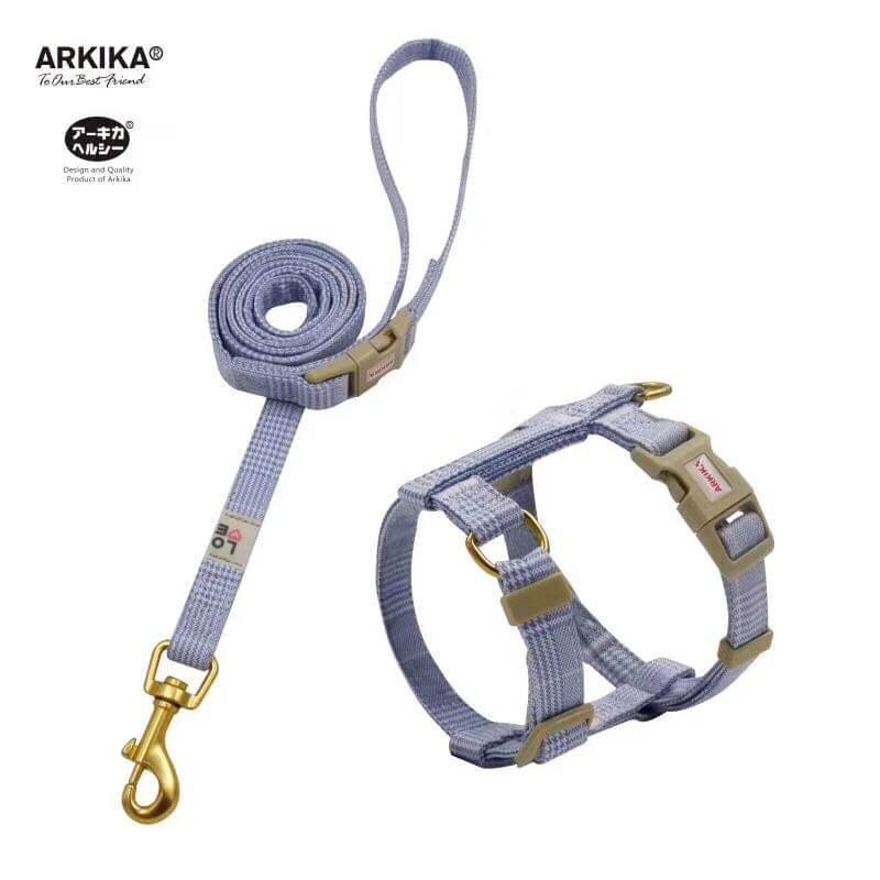 Arkika-Cat-Harness-and-Leash-travel-cat-harness-luxury-cat-harness-soft cat-harness-plaid-japan-BLUE
