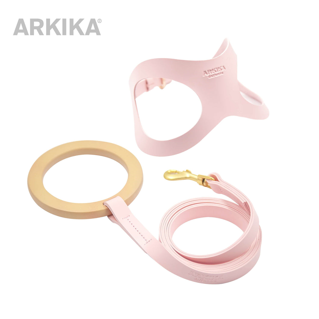 Arkika-dog-Leather-Leash & Harness-leather-dog-harness-travel-dog-harness-luxury-dog-harness-for-small-dogs-leather-dog-harness-with-handle-leather-dog-vest-pink