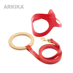 Arkika-dog-Leather-Leash & Harness-leather-dog-harness-travel-dog-harness-luxury-dog-harness-for-small-dogs-leather-dog-harness-with-handle-leather-dog-vest-red