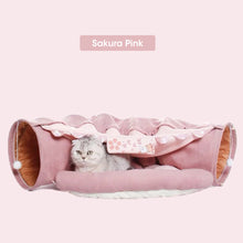Load image into Gallery viewer, cat tunnel toy bed sakura pink