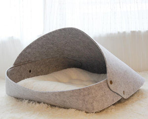 cat igloo bed gray