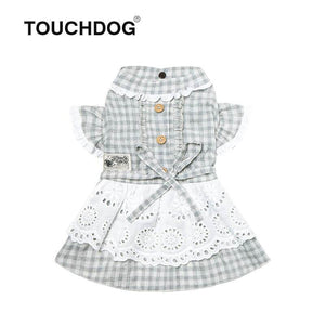 Dog-plaid-dress-dog-Lattice-dress-dog-maid dress green