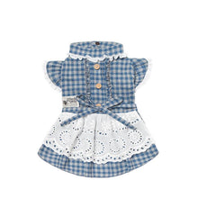 Load image into Gallery viewer, Dog-plaid-dress-dog-Lattice-dress-dog-maid dress blue
