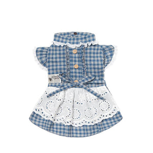 Dog-plaid-dress-dog-Lattice-dress-dog-maid dress blue