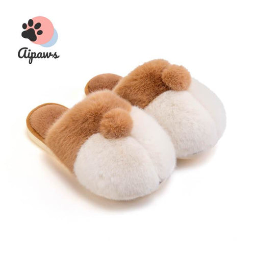 Floofy-Corgi-butt-Slippers-fluffy-stuffed-animal-slippers-indoor-Faux-fur-slippers -Winter-House-Shoes-for-Women-and-Men-fluffy-Slippers-Furry-Slippers-Plush-Lining