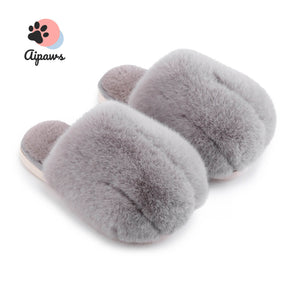 Floofy-Paw-Slippers-fluffy-cat-paw-slippers-animal-gray-Fluffy-indoor-slippers-for-woman-and-man-Faux-fur-slippers-Winter-House-Shoes-Fuzzy-Slippers-Furry-Slippers-Plush-Lining