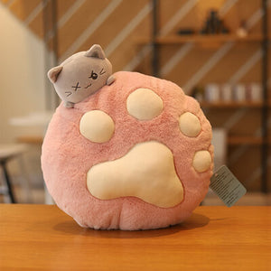 Macaroon Cat Paw Pillow Blanket Combo pink
